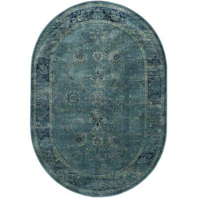 Benton Blue Area Rug Rug Size: Oval 53 x 76