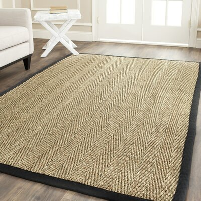 Driffield Hand-Woven Natural/Black Area Rug Rug Size: Round 6