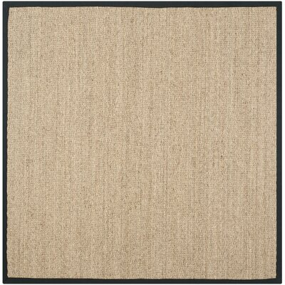 Driffield Hand-Woven Natural/Black Area Rug Rug Size: Square 6