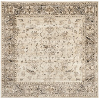 Pittsboro Stone & Mouse Oriental Ivory Area Rug Rug Size: Square 6