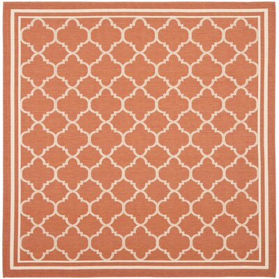 Octavius Orange Outdoor Area Rug Rug Size: Square 4