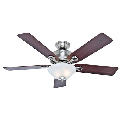 52 Bivens 5 Blade Ceiling Fan Finish: Brushed Nickel with Cherry/Maple Blades