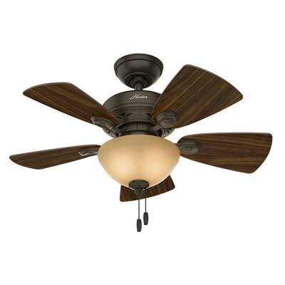 34 Blackstone 5 Blade Ceiling Fan Finish: Bronze with Cabin Home/Walnut Blades