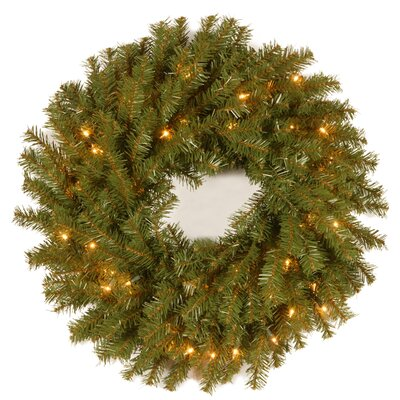 Charlton Home Pine Wreath with Pre-lit Option