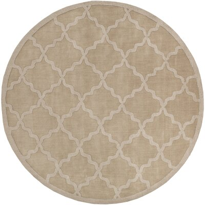 Blankenship Tan Geometric Abbey Area Rug Rug Size: Round 6