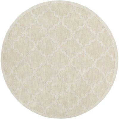 Blankenship Hand-Woven Wool Beige Area Rug Rug Size: Round 6