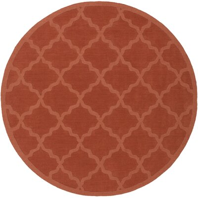 Blankenship Red Geometric Abbey Area Rug Rug Size: Round 6