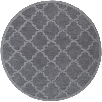 Blankenship Hand-Woven Charcoal Area Rug Rug Size: Round 79