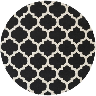 Blaisdell True Black and Ivory White Geometric Stella Area Rug Rug Size: Round 36