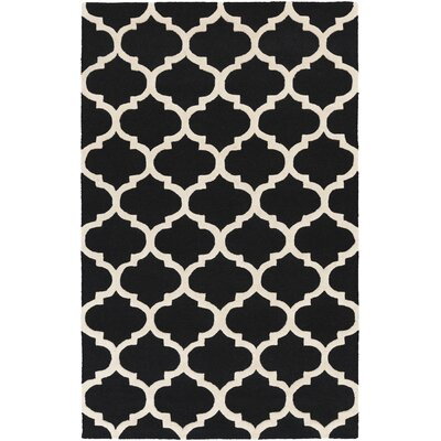 Blaisdell True Black and Ivory White Geometric Stella Area Rug Rug Size: 2 x 3