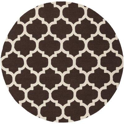 Blaisdell Brown Geometric Stella Area Rug Rug Size: Round 6