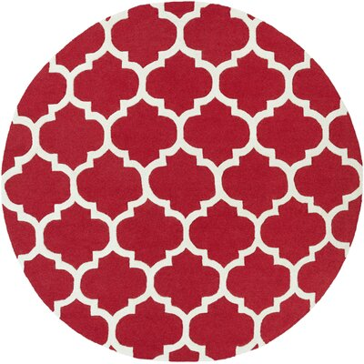 Blaisdell Red Geometric Stella Area Rug Rug Size: Round 8