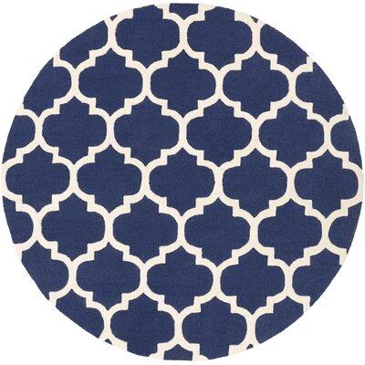 Blaisdell Navy Geometric Stella Area Rug Rug Size: Round 8'