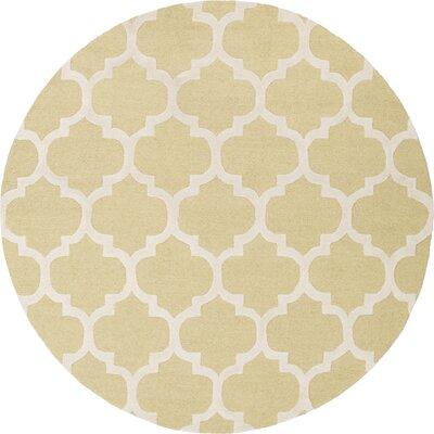 Blaisdell Gold Geometric Stella Area Rug Rug Size: Round 6