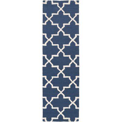 Blaisdell Navy Geometric Keely Area Rug Rug Size: Runner 23 x 12