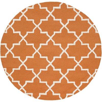Blaisdell Orange Geometric Keely Area Rug Rug Size: Round 6