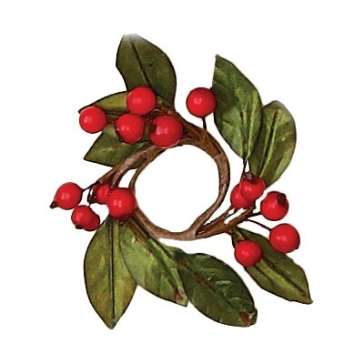 Natural Boxwood and Berry Candle Ring (Set of 4)