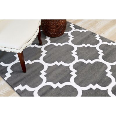 Blocher Charcoal  Indoor/Outdoor Area Rug Rug Size: 52 x 72
