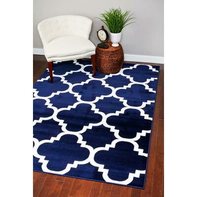 Blocher Navy Indoor/Outdoor Area Rug Rug Size: 5 x 7