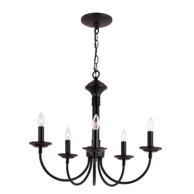 Shaylee 5-Light Candle-Style Chandelier Finish: Black