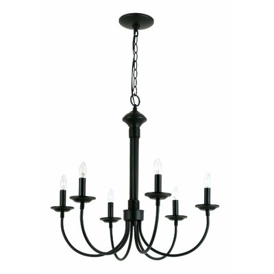 Shaylee 6-Light Candle-Style Chandelier Finish: Black