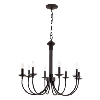 Blue Heron 8-Light Candle-Style Chandelier Finish: Black