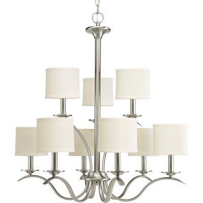 Greenwell 9-Light Shaded Chandelier Finish: Brushed Nickel