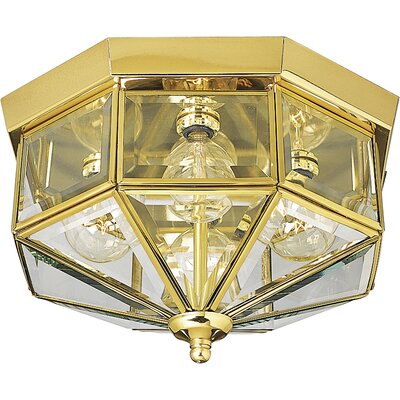 Bluebird 4-Light Flush Mount Finish: Solid Brass