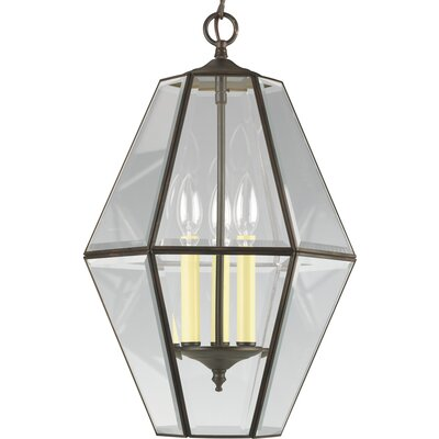 Bluebird 3-Light Bound Foyer Pendant Finish: Antique Bronze with Bound Beveled Glass
