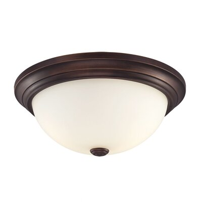 Simonsen 2-Light Flush Mount Size: 5.5 H x 11 W, Finish: Rubbed Bronze