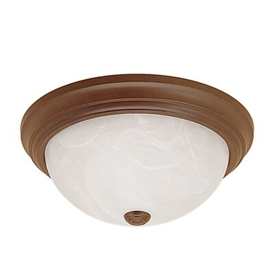 Bog Water 2-Light Flush Mount Finish: Bronze, Size: 5.5 H x 13 W