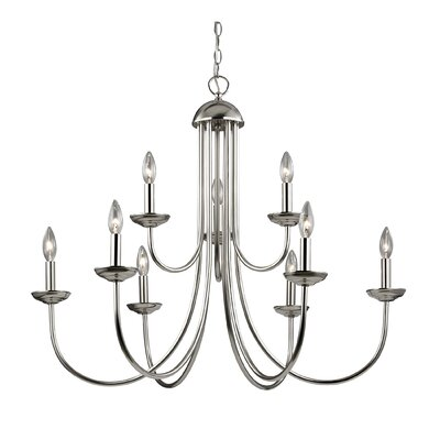 Bordelon 9-Light Candle-Style Chandelier Finish: Brushed Nickel
