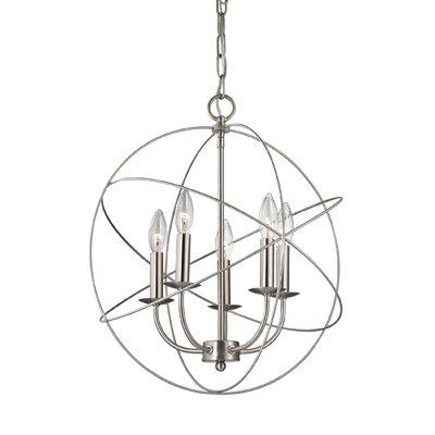 Bordelon 5-Light Candle-Style Chandelier Finish: Brushed Nickel