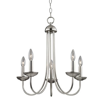 Bordelon 5-Light Candle-Style Chandelier Finish: Brushed Nickel