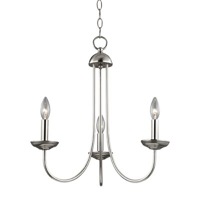 Bordelon 3-Light Candle-Style Chandelier Finish: Brushed Nickel