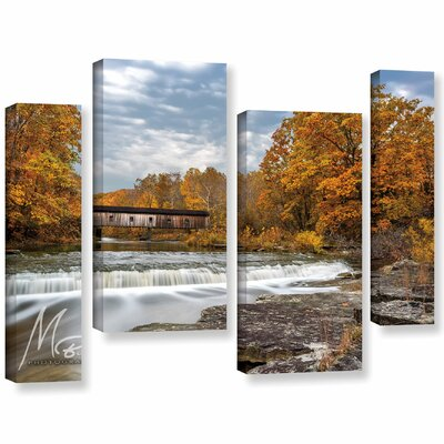 'Autumn Covered Bridge' Photographic Print Multi-Piece Image on Canvas Size: 24