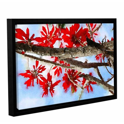 'Red Bush 7' Framed Painting Print on Canvas Size: 12