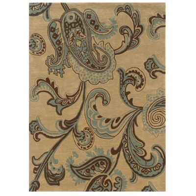 Columban Hand-Tufted Beige/Blue Area Rug Rug Size: 5 x 7