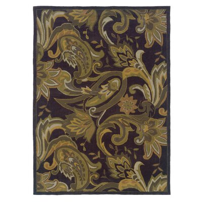 Columban Hand-Tufted Black/Green Area Rug Rug Size: 5 x 7