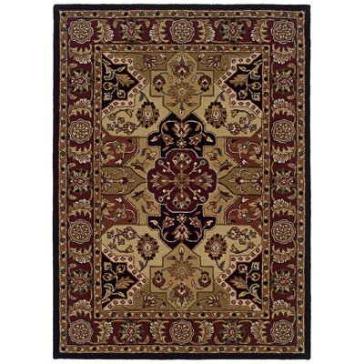 Columban Hand-Tufted Black/Beige Area Rug Rug Size: 110 x 210