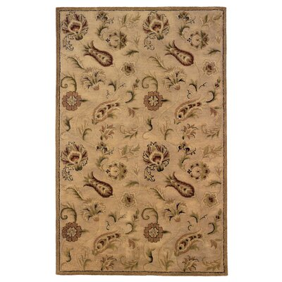 Goodrum Hand-Tufted Wool Beige Area Rug Rug Size: Rectangle 5 x 8