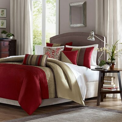 Morell 6 Piece Reversible Duvet Cover Set Size: Full / Queen, Color: Red