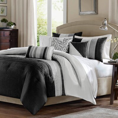 Morell 6 Piece Reversible Duvet Cover Set Size: Full / Queen, Color: Black