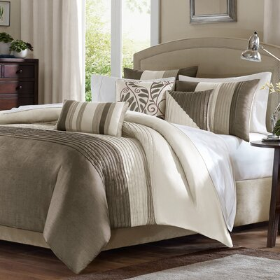 Morell 6 Piece Reversible Duvet Cover Set Size: Full / Queen, Color: Natural