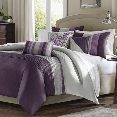 Morell 6 Piece Reversible Duvet Cover Set Size: Full / Queen, Color: Purple