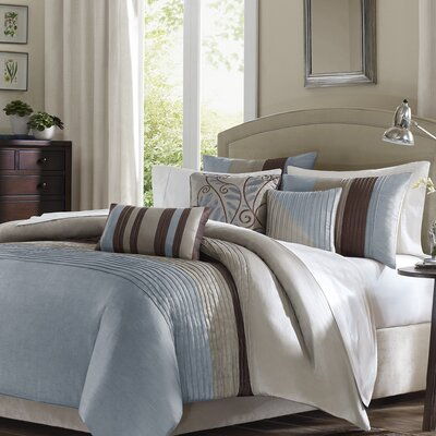 Morell 6 Piece Reversible Duvet Cover Set Size: Full / Queen, Color: Blue