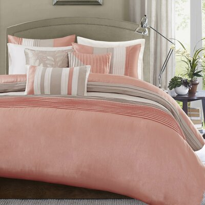 Morell 6 Piece Reversible Duvet Cover Set Size: Full / Queen, Color: Coral
