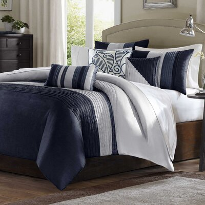 Morell 6 Piece Reversible Duvet Cover Set Size: Full / Queen, Color: Navy