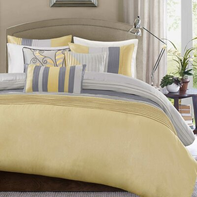Morell 6 Piece Reversible Duvet Cover Set Size: Full / Queen, Color: Yellow