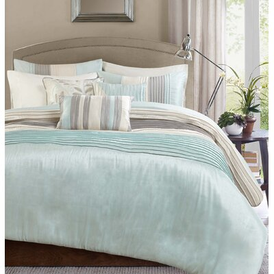 Morell 6 Piece Reversible Duvet Cover Set Color: Aqua, Size: California King